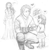 Anakin and his little princess - StarWarsAU sketch by KatyTorres