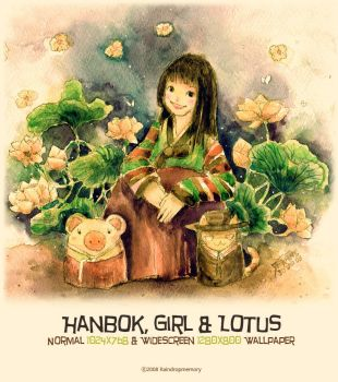 Hanbok, Girl + Lotus Wallpaper by Raindropmemory