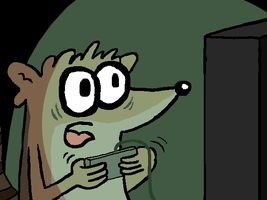 Rigby playing video games by Young-Freddy