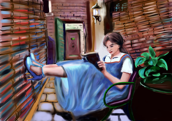 Belle4  lost in a world of books by shmuckwolf