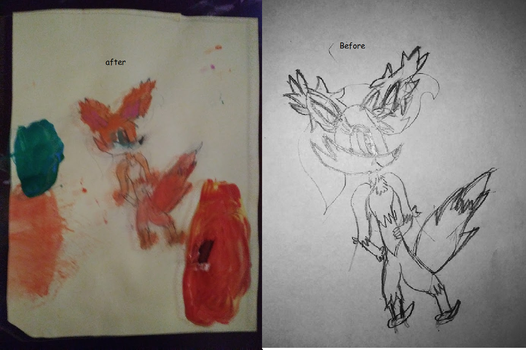 Before After Pokemon Crystal Skech by IloveFNAFandsonic