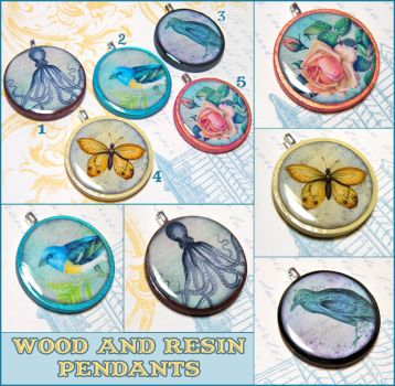 Wood and Resin Pendants by bapity88