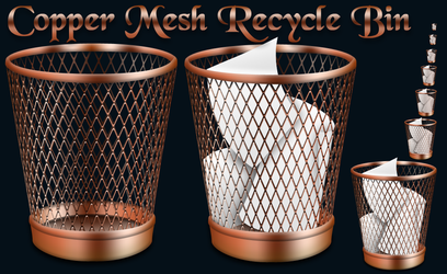 Copper Mesh Recycle Bin by Elmer-BeFuddled
