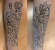 Traditional koi lotus flower by imagine-nation