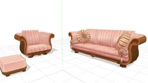 Pink sofa set MMD Download by Hack-Girl