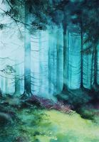 light in forest by BlackNiqa