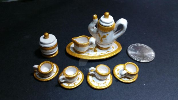 Minuature Golden Teaset by silentlily