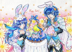 Easter Lucina and Chrom by hinivaal