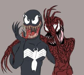 Laughing symbiotes by DuskullDraws