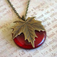 Finally Fall Red Glass Pendant by FusedElegance