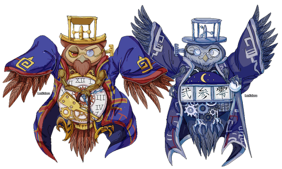 =OKAMI=  twin owl brothers Lechku and Nechku Pixel by LeoKatana
