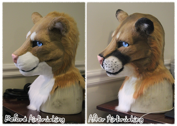 The Difference Airbrushing Makes on a Fursuit Head by Tsebresos
