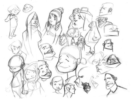cartoon sketches by bolognafingers