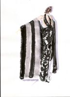Black Grecian Dress with Black-Silver Fur Stole by shadowsphere21