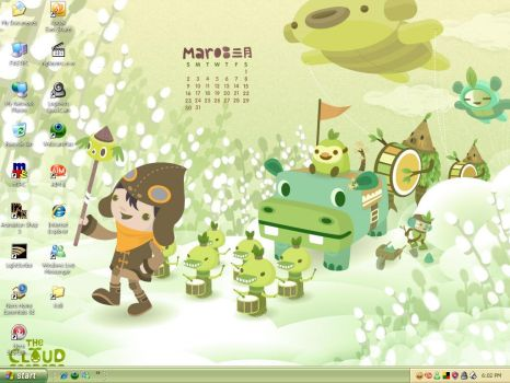 March 2008 Desktop Calendar by loonylawnflamingo