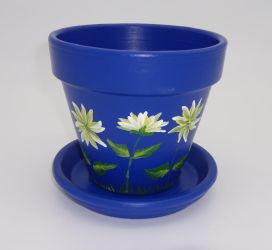 Blue Flower Pot with Hand Painted Daisies by sweetpie2