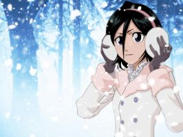 Rukia In Snow Wallpaper by DrLinuX