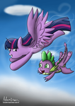 Flying through the sky by GreenflyArt