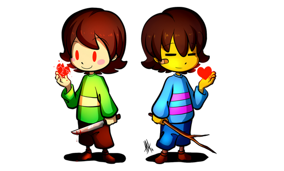 Let's Draw Frisk + Chara (Speed Drawing Video) by Smudgeandfrank