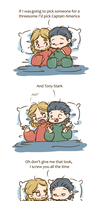 Thorki - Threesome with Captain America by caycowa