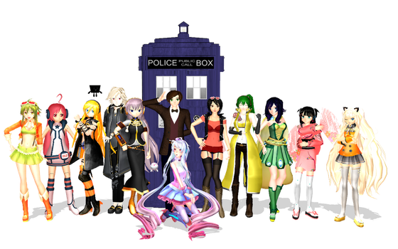 MMD - The 11th Doctor and a bunch of VOCALOIDs by emmystar