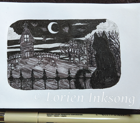Tiny Ink Drawing: Gothic Nighttime Scene by LorienInksong