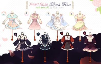 [CLOSED] Pearl and Dark Rose Outfit Adoptable #15 by Black-Quose