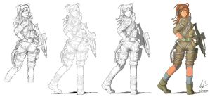 Female soldier 03 process by Auzzymo