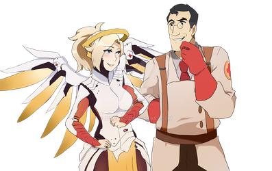 Mercy And Medic [Tf2 OW crossover] by aidmoon