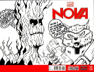Rocket and Groot sketch Cover by mentaldiversions