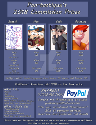 .:2018 Commission Prices:. ~OPEN~ by Pan-tastique