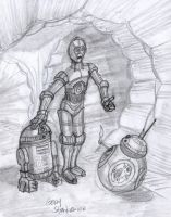 R2D2, C3PO and BB8 by Stnk13