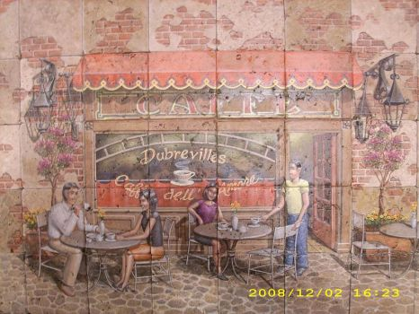 French Caffee' on tiles by MuralsbyLeBold