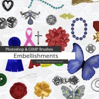 Embellishments Photoshop and GIMP Brushes by redheadstock