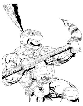 TMNT DONATELLO commission line art by drawhard