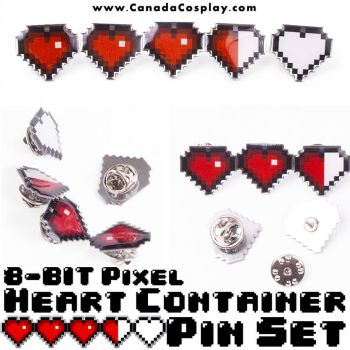 8-Bit Pixel Heart Container Pin Set by KayPikeFashion