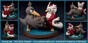 Commission : Moving Day, Farfetchd and Delibird by emilySculpts