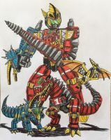 Thundersaurus Megazord (Parts and Megazord) by BozzerKazooers