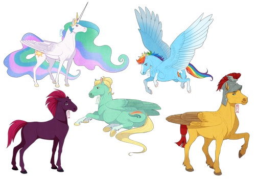 bunch of colorful horses by badass-doctor