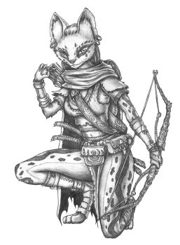 [COMMISSION] Rain - Tabaxi Ranger Beastmaster by s0ulafein