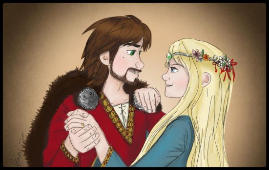 Hiccstrid Wedding Dance where Hiccup has a beard by Jenni41