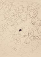 Underwater Sentai line art :-) by DynamicSavior