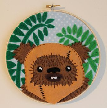 Ewok on Endor Embroidery by loveandasandwich