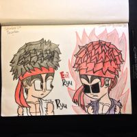 Drawing Ryu and Evil Ryu by Riyana2