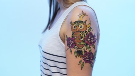 Owl and roses tattoo by sHavYpus