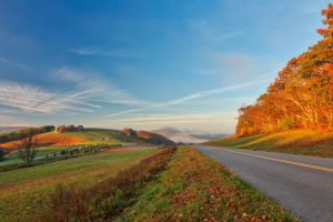 Blue Ridge Parkway - Golden Autumn Hour by somadjinn