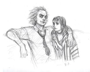 Beetlejuice and  Lydia by drakonarinka