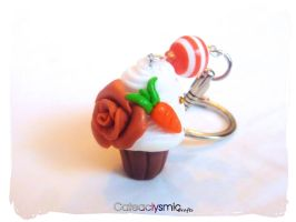 Carrot Cake Cupcake Keychain by Cateaclysmic