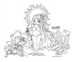 Summer Goddess -Lineart by JadeDragonne