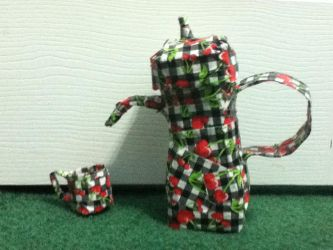 duck tape tea pot and tea cup by devil-licious